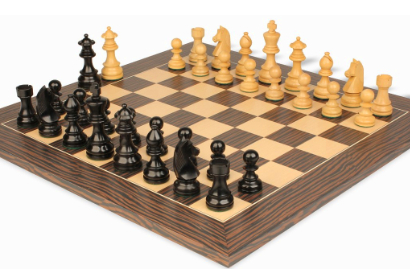 Chess Sets with Deluxe Tiger Ebony Chess Board
