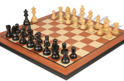 Chess Sets with Mahogany Molded Edge Chess Board