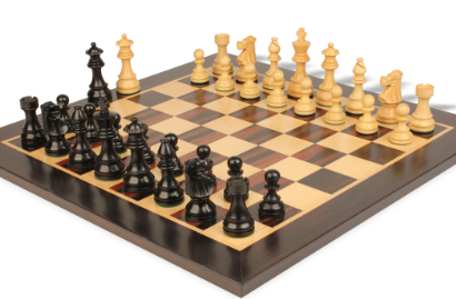 Chess Sets with Macassar Ebony & Maple Chess Board