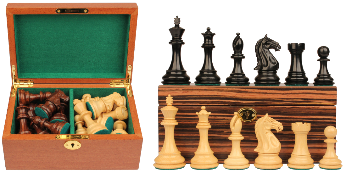 Wood Chess Pieces & Box Combo