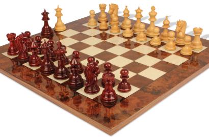 Chess Sets with Italfama Walnut Burl Chess Board