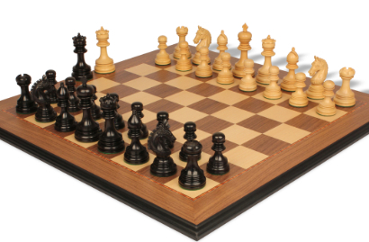Chess Sets w/ Walnut Moulded Edge Chess Board