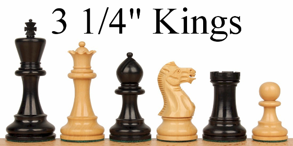 "Wood Chess Pieces with 3.25"" King"