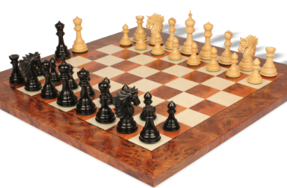 Chess Sets with Elm Burl & Maple Chess Board