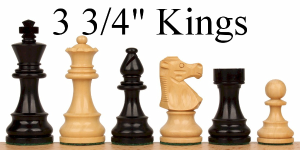 "Wood Chess Pieces with 3.75"" King"