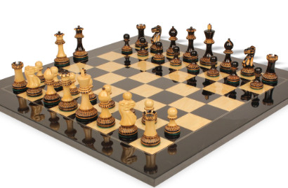 Chess Sets with Black & Ash Burl Chess Board