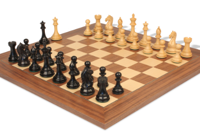 Chess Sets w/ Deluxe Walnut & Maple Chess Board