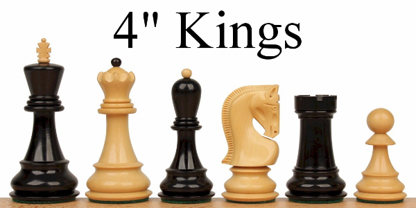 "Wood Chess Pieces with 4"" King"