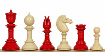 Edinburgh Upright Chess Set in Red Ivory 375 King