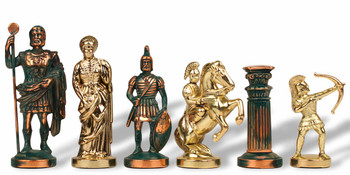 Archers Theme Chess Set Antiqued Green Copper Brass Pieces 375 King