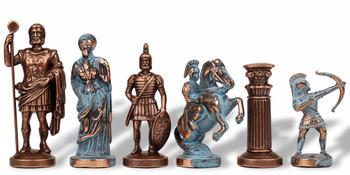 Archers Theme Chess Set Antiqued Blue Copper Copper Pieces 375 King