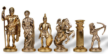 Archers Theme Chess Set Brass Nickel Pieces 375 King