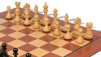 Fierce Knight Staunton Chess Set Ebonized Boxwood Pieces with Classic Mahogany Chess Board 3 King