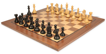 Fierce Knight Staunton Chess Set Ebonized Boxwood Pieces with Classic Walnut Chess Board 3 King
