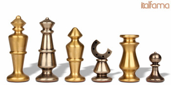 Contemporary Solid Brass Chess Set by Italfama