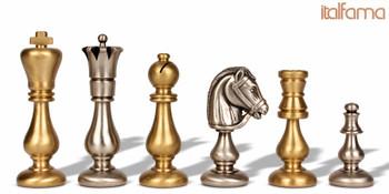 Contemporary Staunton Solid Brass Chess Set by Italfama