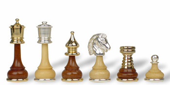 Classic Persian Gold & Silver Plated Brass & Wood Chess Set