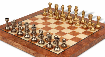 Abstract Staunton Solid Brass Chess Set with Elm Burl Chess Board
