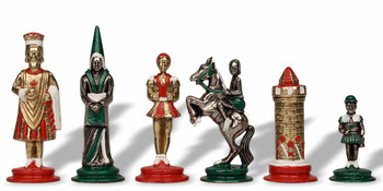 Camelot Theme Hand Painted Metal Chess Set by Italfama