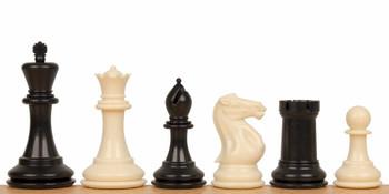 Conqueror Plastic Chess Set Black Ivory Pieces 375 King