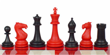 Crown Plastic Chess Set Black Red Pieces 4 King