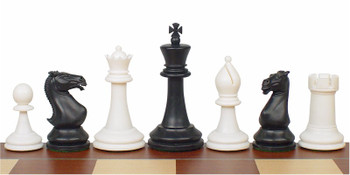 Crown Plastic Chess Set Black Ivory Pieces 4 King