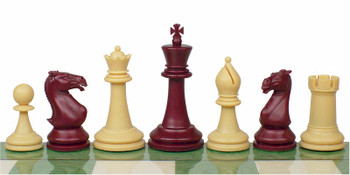 Crown Plastic Chess Set Burgundy Camel Pieces 4 King