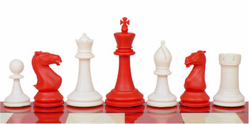 Crown Plastic Chess Set Red Ivory Pieces 4 King