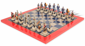 Civil War Theme Chess Set with Civil War Deluxe Chess Board
