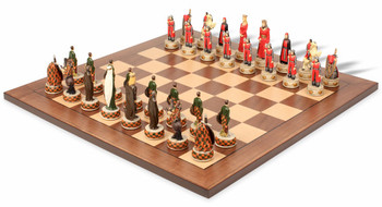 English Scottish Theme Chess Set with Classic Walnut Maple Chess Board