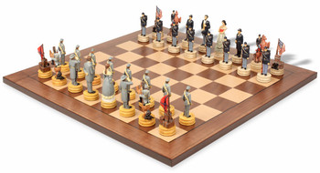 Civil War II Theme Chess Set with Classic Walnut Maple Chess Board