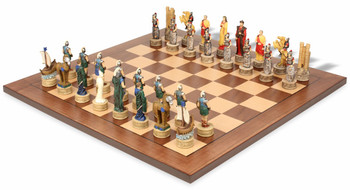 Battle of Troy Theme Chess Set with Classic Walnut Maple Chess Board