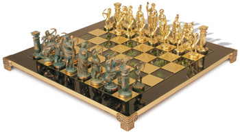 Archers Theme Chess Set with Brass & Green Copper Pieces - Green Board