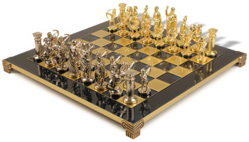 Archers Theme Chess Set with Brass & Nickel Pieces - Blue Board