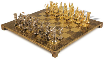 Archers Theme Chess Set with Bronze & Blue Copper Pieces - Brown Board