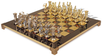 Archers Chess Set with Brass & Nickel Pieces - Red Board