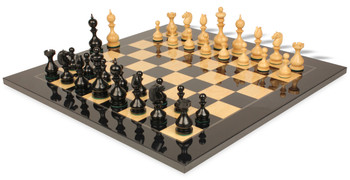 Dublin Antique Reproduction Chess Set Ebony Boxwood Pieces with Black Ash Burl Chess Board 4 King