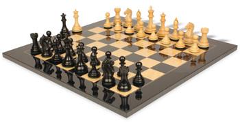 Fierce Knight Staunton Chess Set Ebonized Boxwood Pieces with Black Ash burl Chess Board 35 King