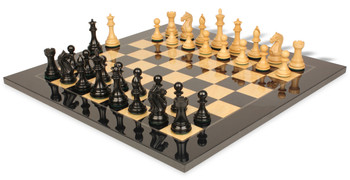 Fierce Knight Staunton Chess Set Ebonized Boxwood Pieces with Black Ash Burl Chess Board 4 King