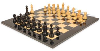 Deluxe Old Club Staunton Chess Set Ebonized Boxwood Pieces with Black Ash Burl Chess Board 325 King