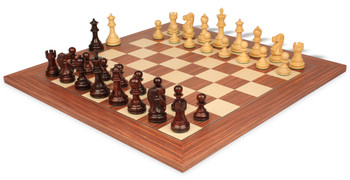 Deluxe Old Club Staunton Chess Set in Rosewood Boxwood with Rosewood Maple Deluxe Chess Board 375 King
