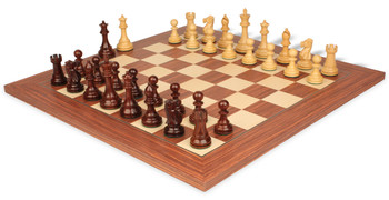 British Staunton Chess Set in Rosewood Boxwood with Rosewood Maple Delxue Chess Board 4 King