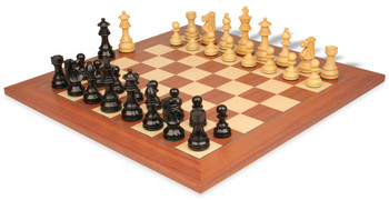 Deluxe Old Club Staunton Chess Set in Ebonized Boxwood Boxwood with Mahogany Maple Deluxe Chess Board 325 King