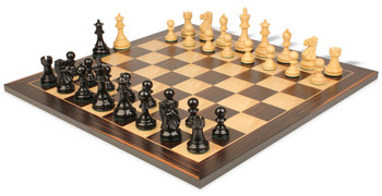 Deluxe Old Club Staunton Chess Set Ebonized Boxwood Pieces with Classic Macassar Ebony Chess Board 325 King