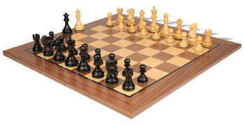 Deluxe Old Club Staunton Chess Set Ebonized Boxwood Pieces with Classic Walnut Chess Board 325 King