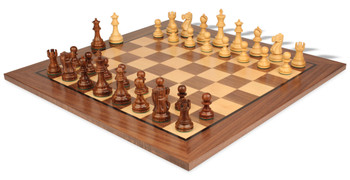Deluxe Old Club Staunton Chess Set Golden Rosewood Boxwood Pieces with Classic Walnut Chess Board 375 King