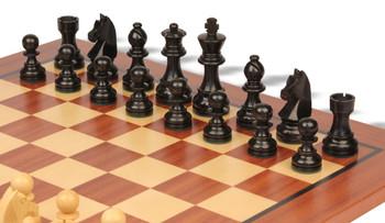 2.75 King German Knight Staunton Chess Set Ebonized /& Boxwood Pieces with Classic Mahogany Chess Board
