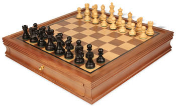 Deluxe Old Club Staunton Chess Set in Ebony Boxwood with Walnut Chess Case 325 King
