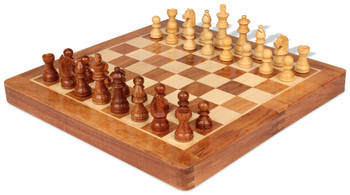 Acacia Wood Folding Magnetic Travel Chess Set 12