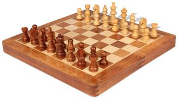 "Acacia Wood Folding Magnetic Travel Chess Set - 10"""